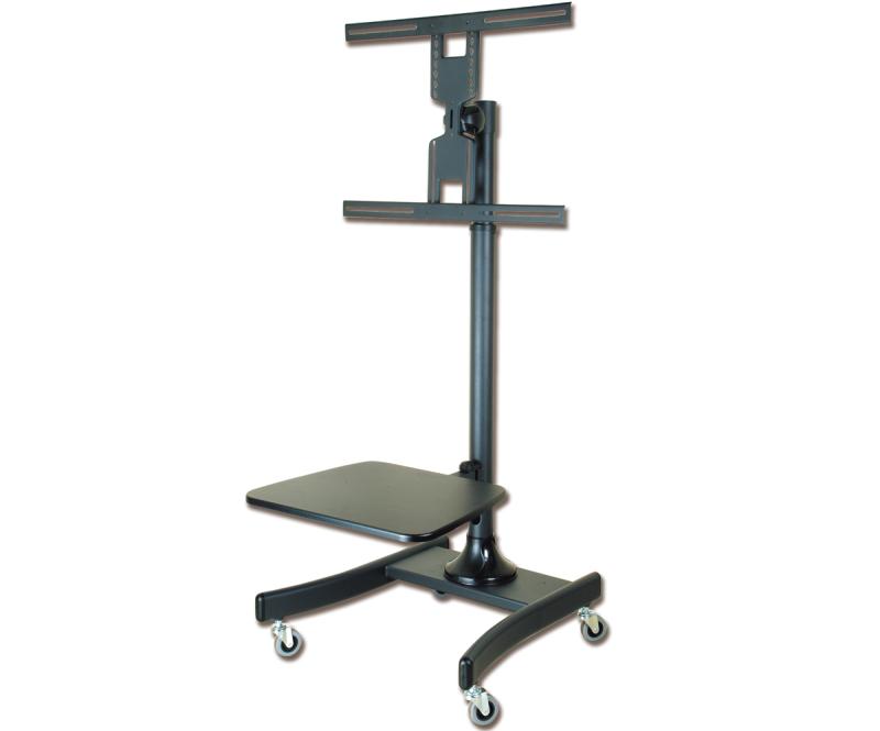 מעמד תעשייתי רצפתי נייד עם גלגלים ומדף למסכים עד 65 אינצ' GoldTop Tech Arm GT842BB TV Mobile Carts VESA 600X400