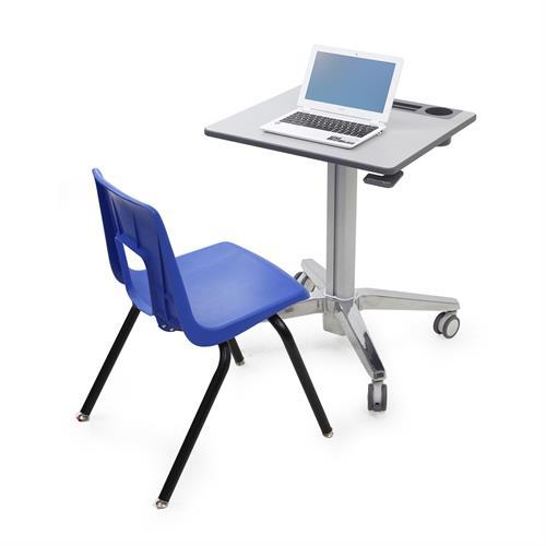 עגלת עבודה ניידת ומתכווננת ישיבה עמידה לנשיאת מחשב נייד וציוד ארגוני ארגוטרון Ergotron E-24-547-003 LearnFit® Sit-Stand Desk
