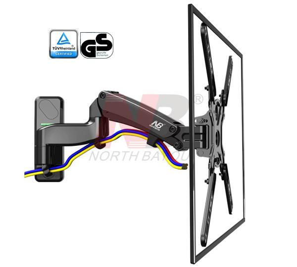 זרוע 3 מפרקים הידראולית גז כיוון גובה צידוד הטייה חיבור לקיר למסכים עד 60 תקן NB North Bayou F500 Gas-Strut TV Mount VESA