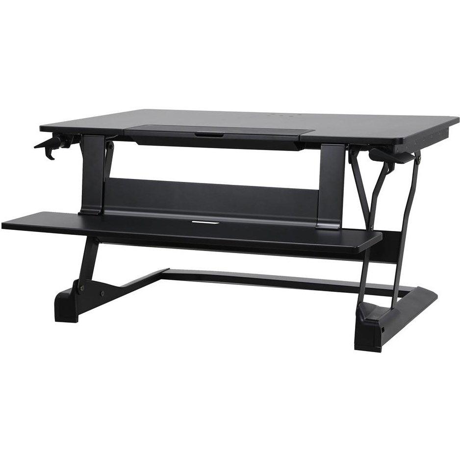 עמדה ניידת ישיבה עמידה לעכבר מקלדת ושתי מסכים ארגוטרון Ergotron E-33-444-921 WorkFit-TLE, Sit-Stand Desktop Workstation