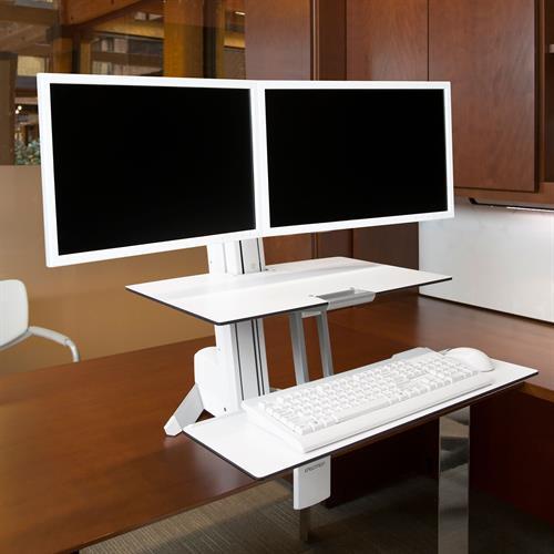 עמדת עבודה ארונומית ישיבה עמידה ל 2 מסכים נצמדת לשולחן Ergotron WORKFIT-S, DUAL SIT-STAND, WORKSURFACE & LARGE KYBD TRAY White