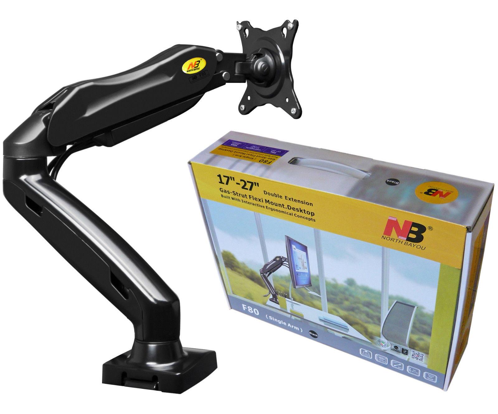זרוע שולחנית הידראולית 3 מפרקים אגומטרית למסך מחשב חיבור לשולחן מלחציים (אפשרות הברגה) מתאימה לגודל מסך עד 27'' עד משקל 9 ק''ג אורך עד 53.8 ס''מ NB F80 Gas Strut Desktop Mount