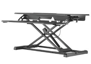 עמדת עבודה שולחנית הידראולית מתכוונת ישיבה עמידה לנשיאת 2 מסכים מקלדת ועכבר שחור Lumi DWS06-02N Sit-Stand WorkFit 800x400mm Desktop Workstation