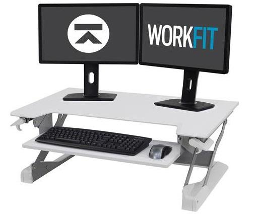 עמדת עבודה שולחנית מתכווננת ישיבה עמידה לנשיאת 2 מסכים ומקלדת לבן ארגוטרון Ergotron E-33-406-062 WorkFit-TL, Sit-Stand Desktop Workstation