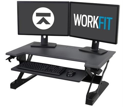 עמדת עבודה שולחנית מתכוונת ישיבה עמידה לנשיאת 2 מסכים ומקלדת שחור ארגוטרון Ergotron E-33-406-085 WorkFit-TL, Sit-Stand Desktop Workstation