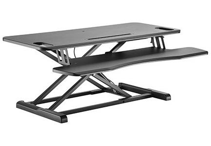 עמדת עבודה שולחנית הידראולית מתכוונת ישיבה עמידה לנשיאת 2 מסכים מקלדת ועכבר שחור Lumi DWS28-02N Gas Spring Scissor-Lift 950x400mm Desktop Sit-Stand Workstation