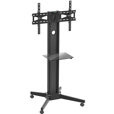 מתקן מעמד סטנד נייד לטלוויזיה עם גלגלים ומדף למסכים עד 70 אינצ' משקל נשיאה 40 ק''ג Barkan SW401 Flat/ Curved TV Cart Glass Shelf
